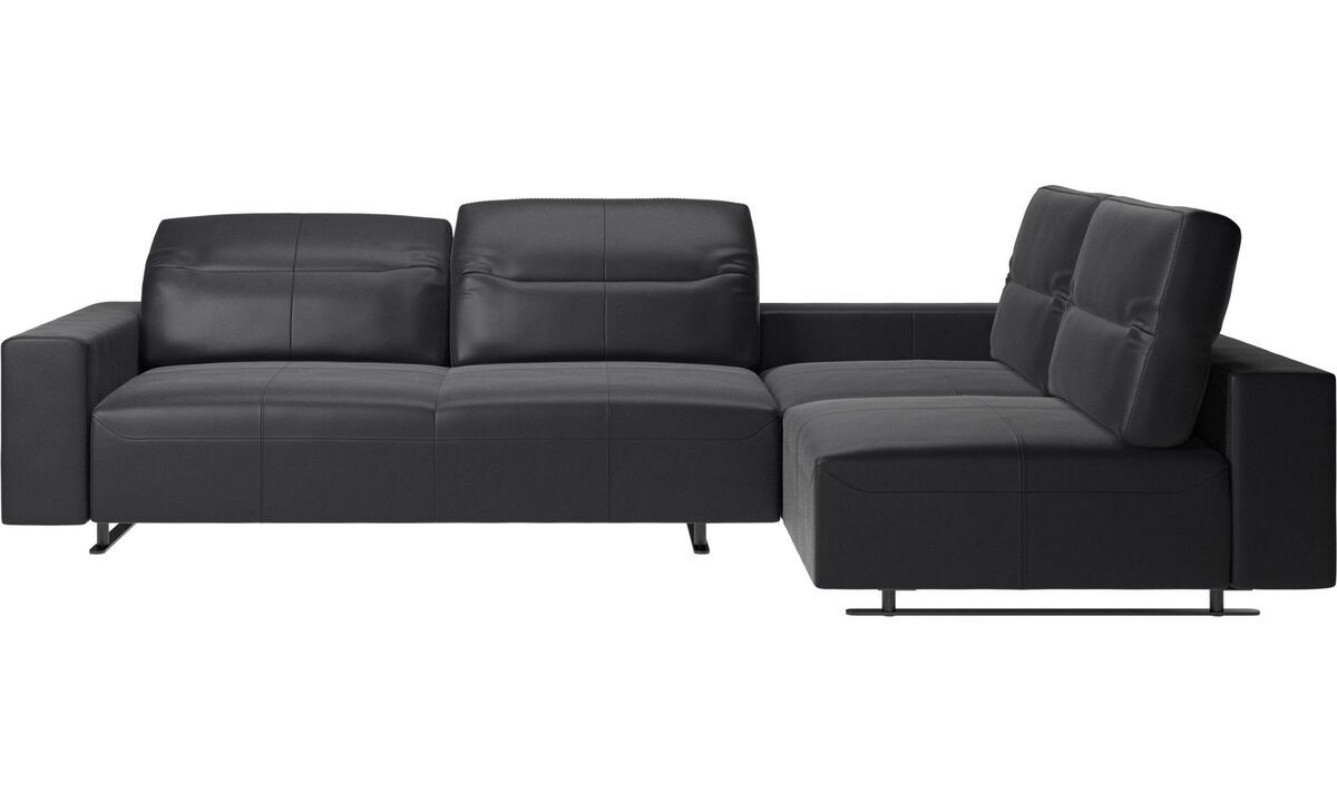 Corner sofas - Hampton corner sofa with adjustable back and storage on left side - Black - Leather