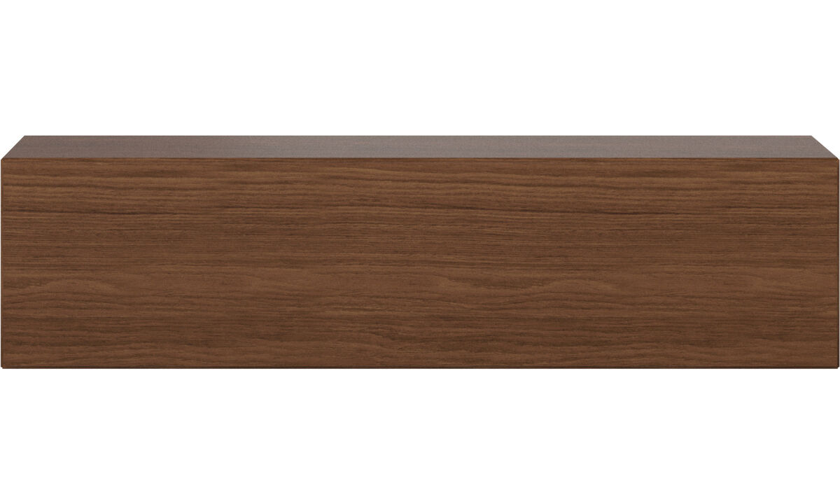Tv units - Lugano wall mounted cabinet with drop down door - Brown - Walnut