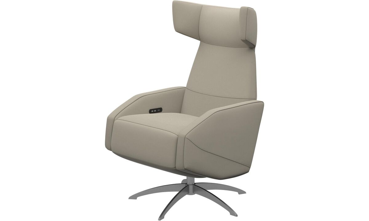 Armchairs - Harvard recliner with battery function, also available with manual/electrical recliner function - White - Fabric
