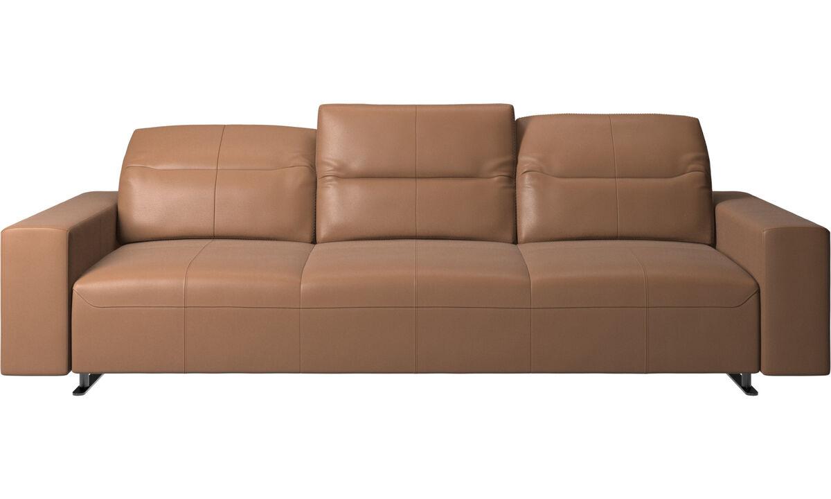 Sofás de 3 plazas - Sofá Hampton con respaldo ajustable - En marrón - Piel