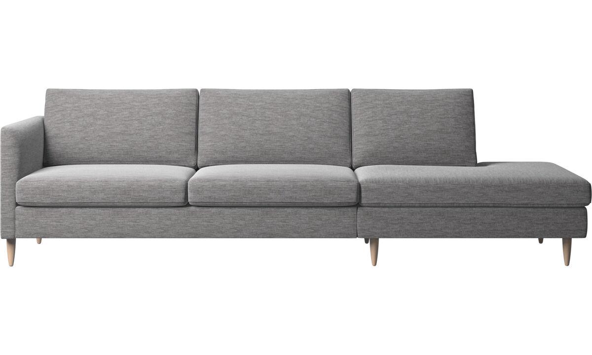 Диваны без подлокотников - диван Indivi с модулем для отдыха - Серого цвета - Tкань