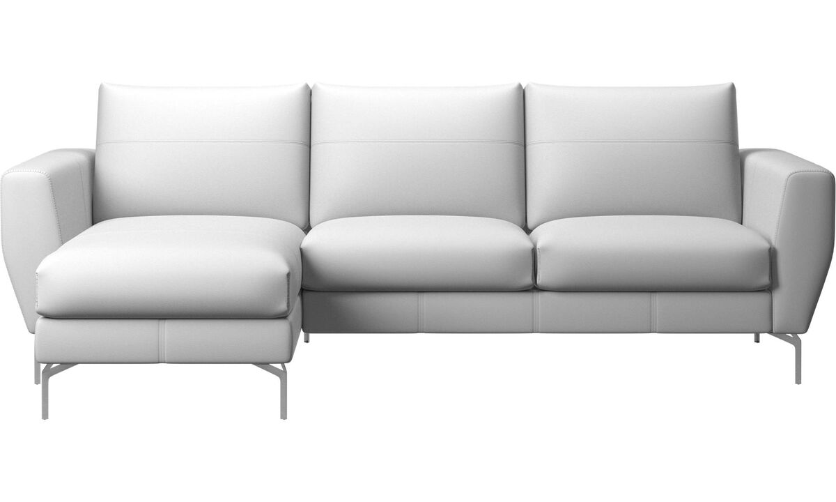 Chaise longue sofas - Nice sofa with resting unit - White - Leather