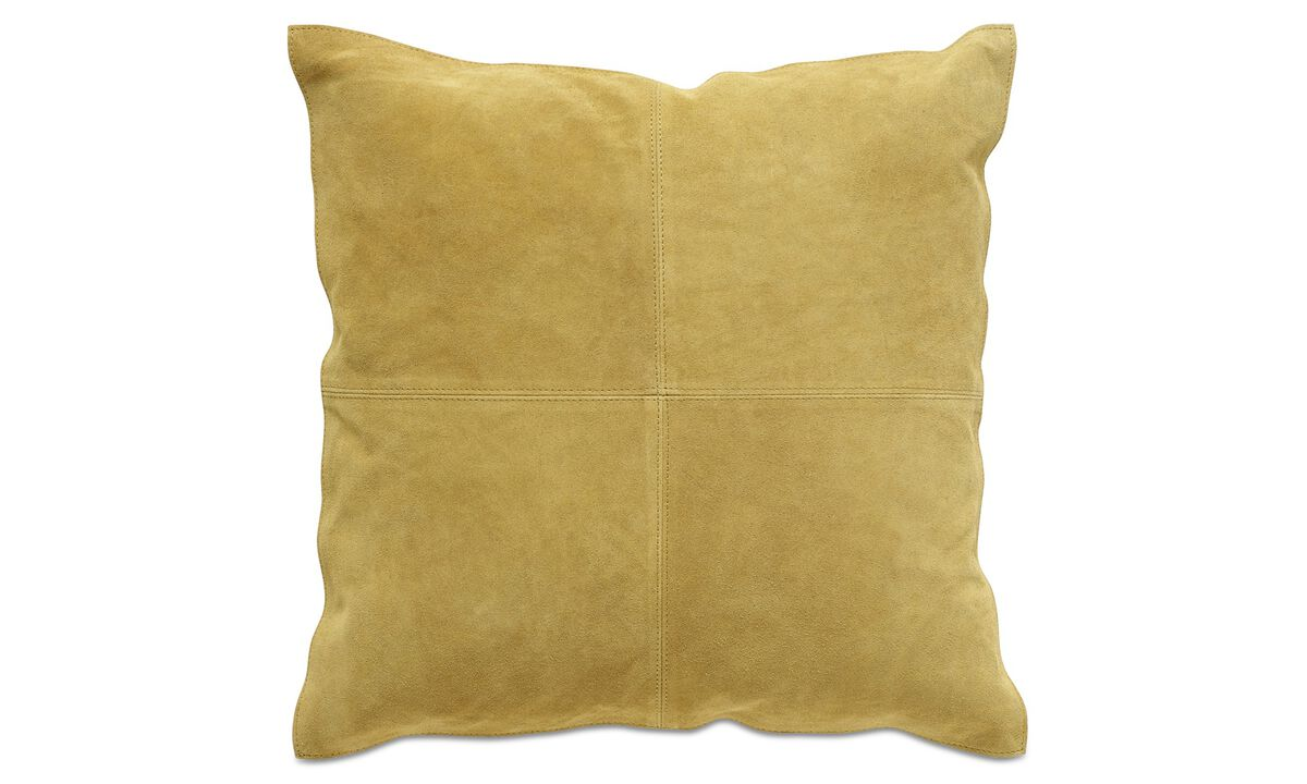 Leather cushions - Suede cushion - Yellow - Fabric