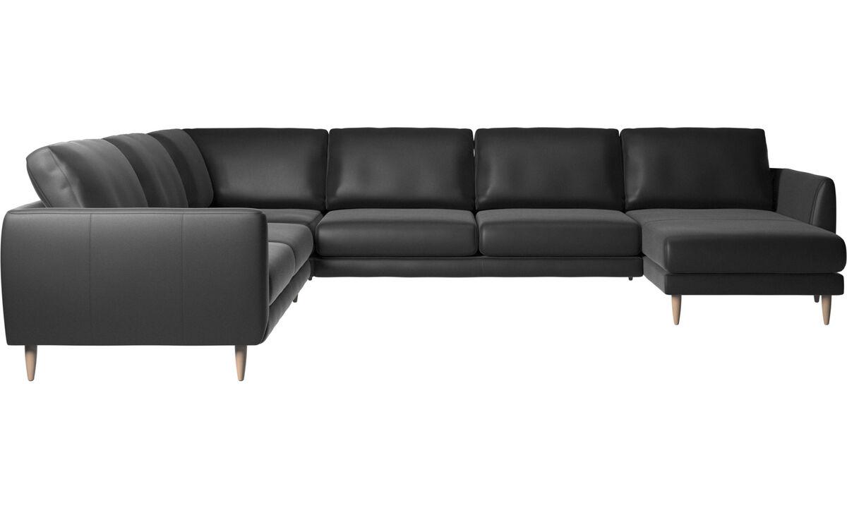Corner sofas - Fargo corner sofa with resting unit - Black - Leather
