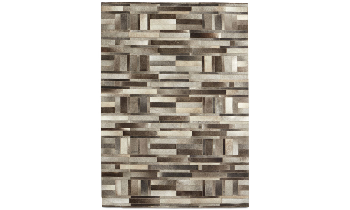 Leather rugs - Rectangular rug - rectangular - Grey - Leather