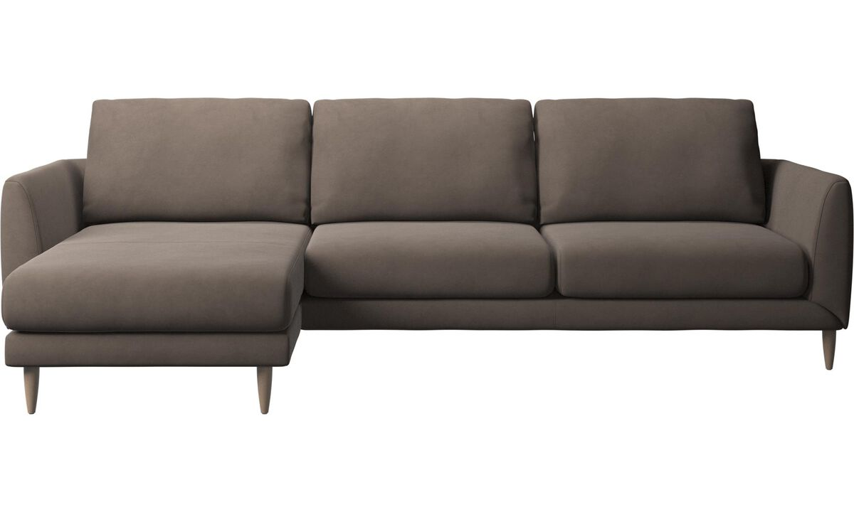 Chaise lounge sofas - Fargo sofa with resting unit - Gray - Leather