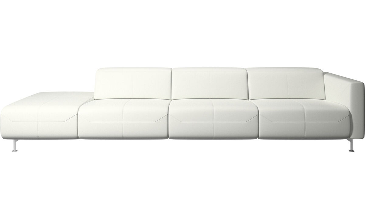 Recliner sofas - Parma reclining sofa with open end - White - Leather