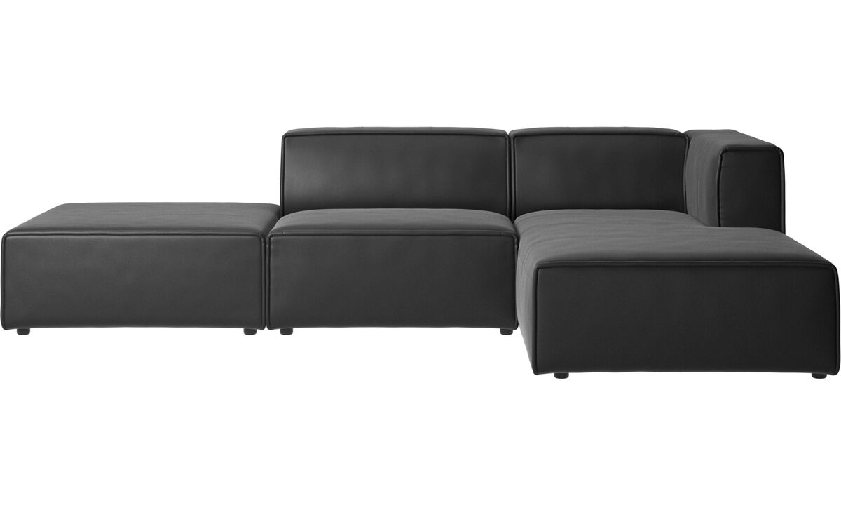 Modular sofas - Carmo sofa with resting unit - Black - Leather