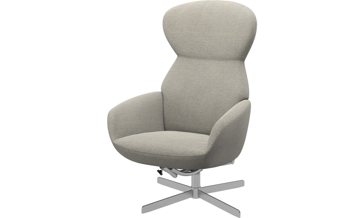 Armchairs - Athena chair with reclining back function and swivel base - Beige - Fabric
