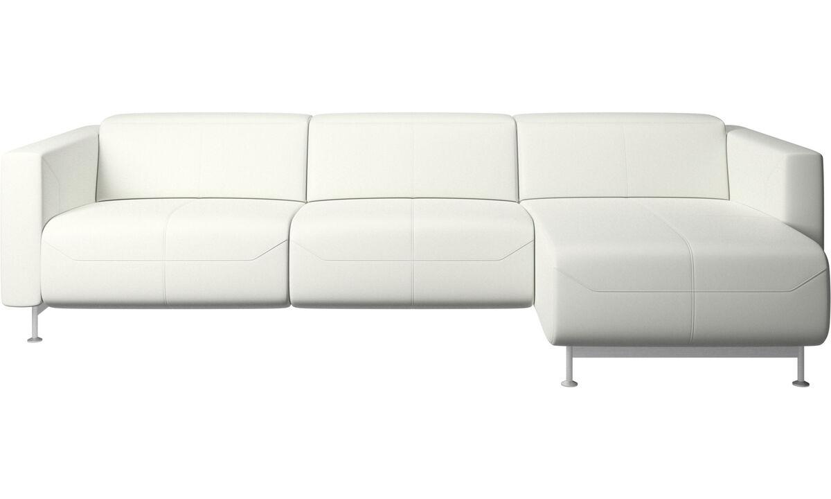 Sofás com chaise - Sofá reclinável Parma com chaise lounge - White - Couro