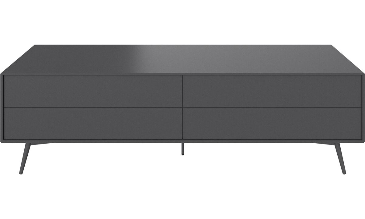 Tv units - Fermo media unit with drop-down door and drawer - Gray - Lacquered
