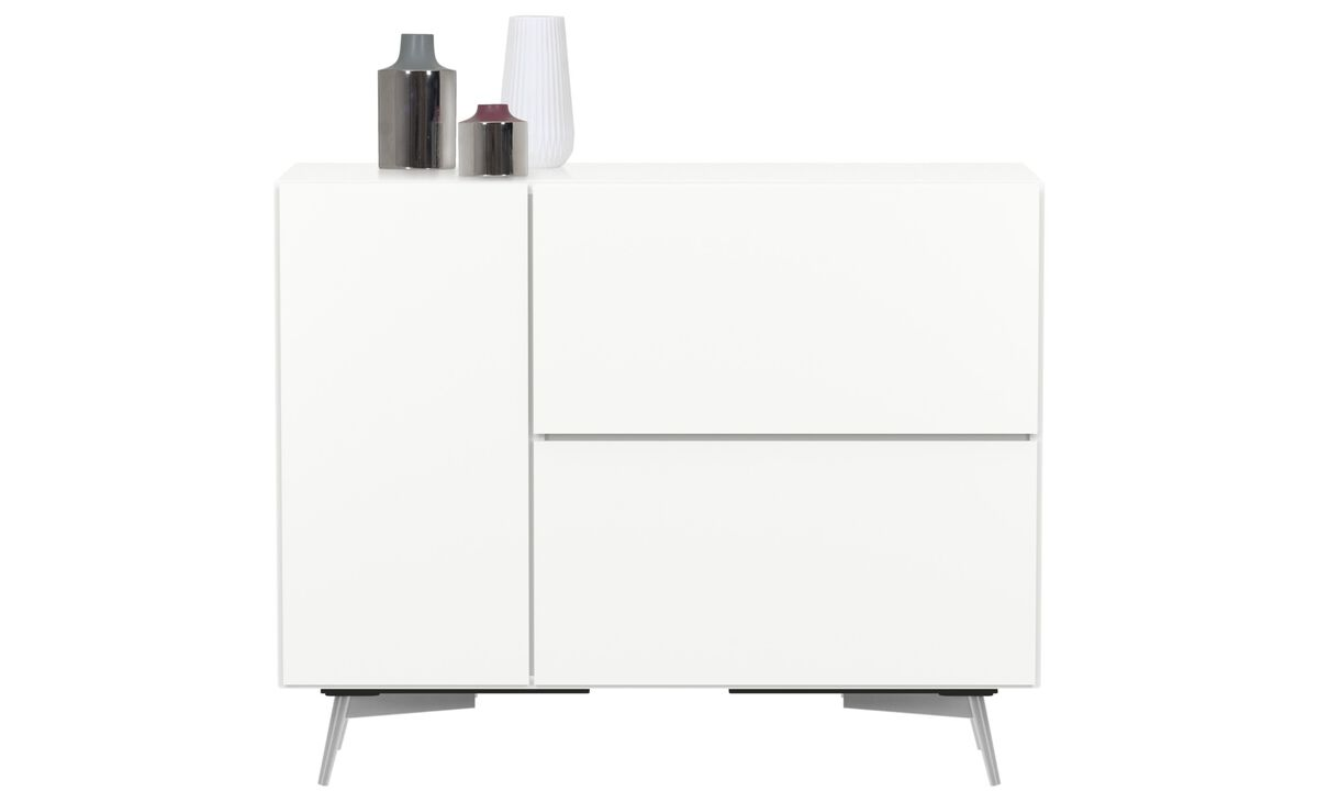 Sideboards - Lugano highboard with drop down doors and drawer - White - Lacquered