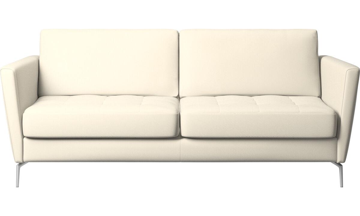 Sofás cama - Sofá cama Osaka, asiento capitoné - Blanco - Piel
