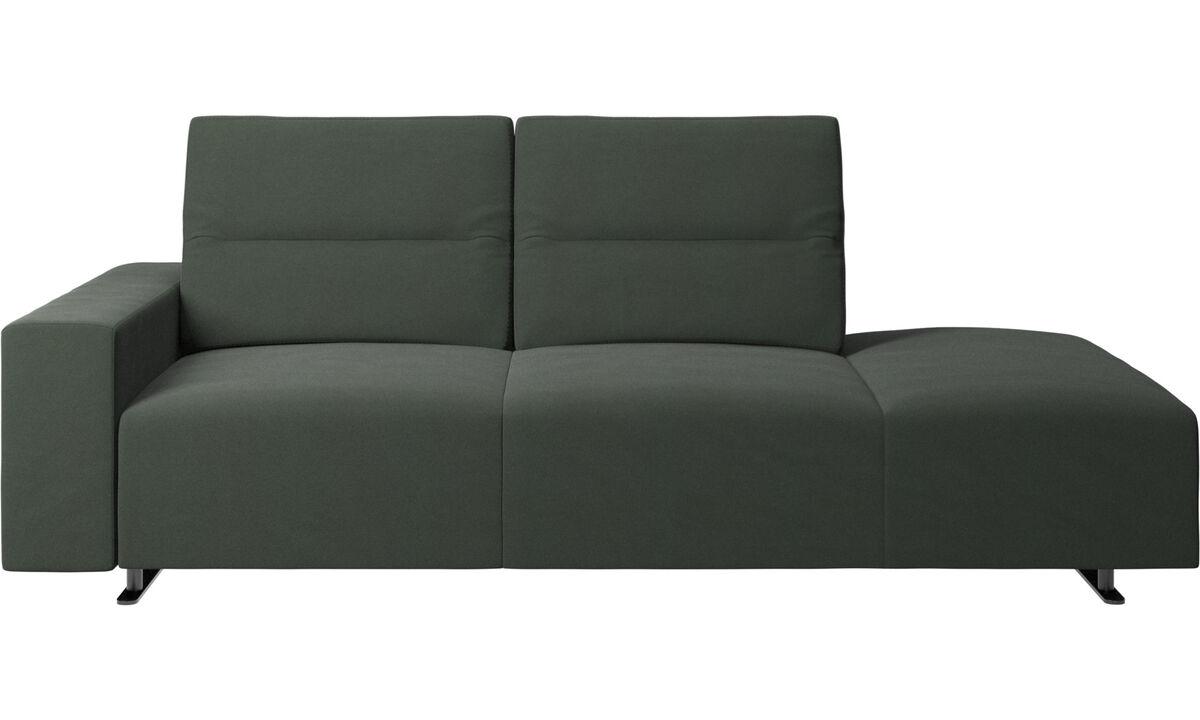 Sofás com canto aberto - Sofá Hampton com encosto ajustável e lado direito para lounging, armazenamento e apoio de braços lado esquerdo - Verde - Tecido