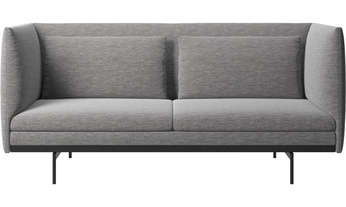Sofás de 2 plazas - Sofá Nantes con cojines - En gris - Tela