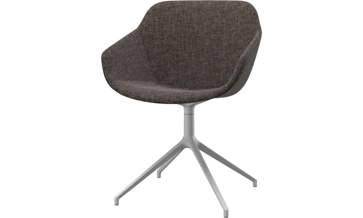 Dining chairs - Vienna chair with swivel function - Brown - Fabric