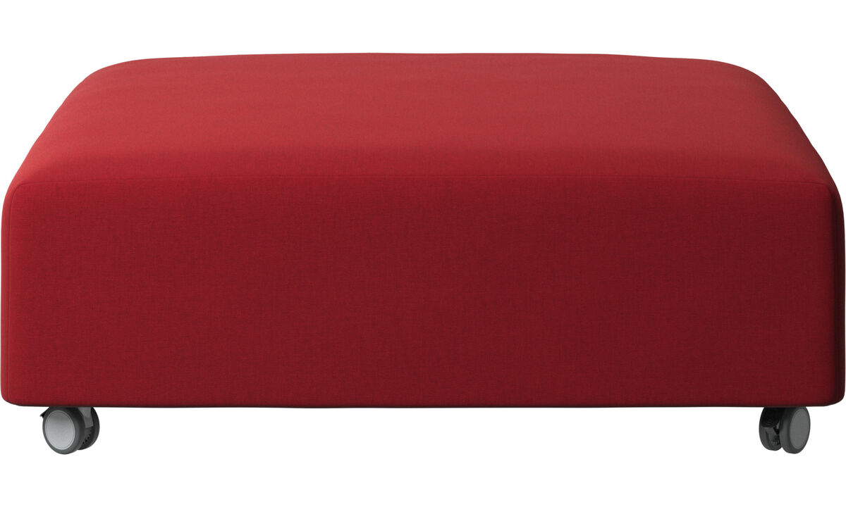 Apoio de pés - Puff Hampton com rodas - Vermelho - Tecido