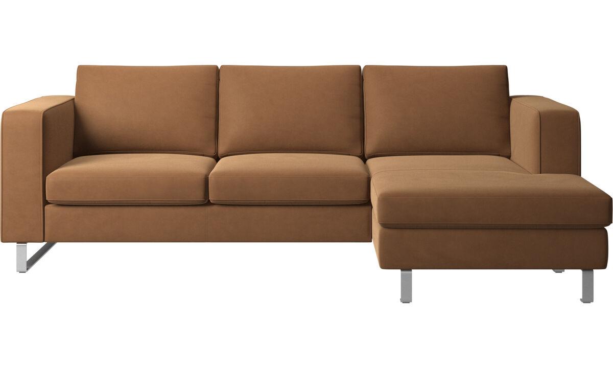 Sofas mit Récamiere - Indivi Sofa mit Ruhemodul - Braun - Leder