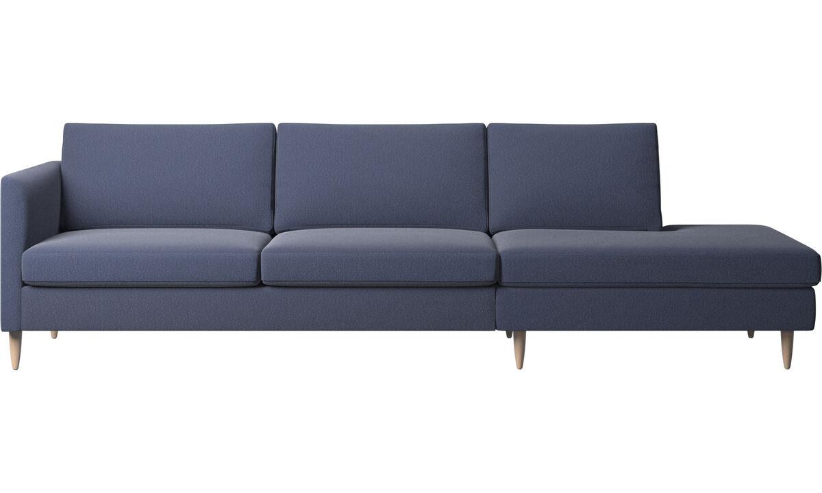 Banken met lounge element - Indivi zitbank met relaxelement - Blauw - Stof