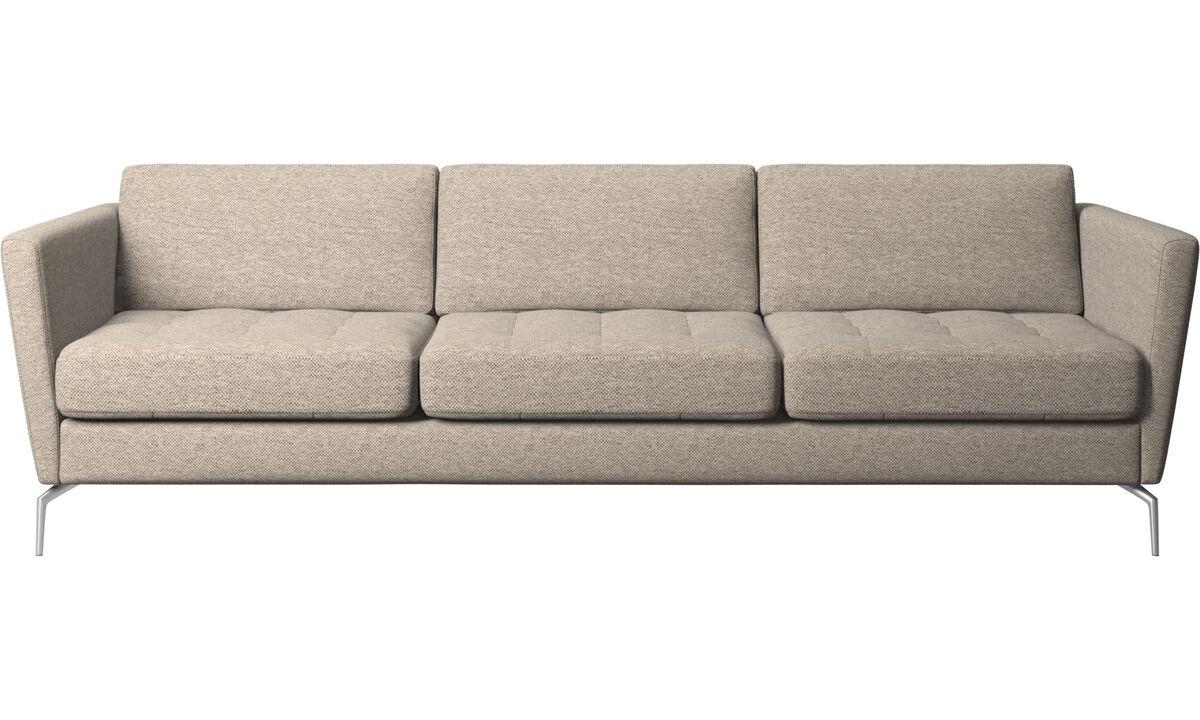 Sofy 3-osobowe - Sofa Osaka, pikowane siedzisko - Beżowy - Tkanina