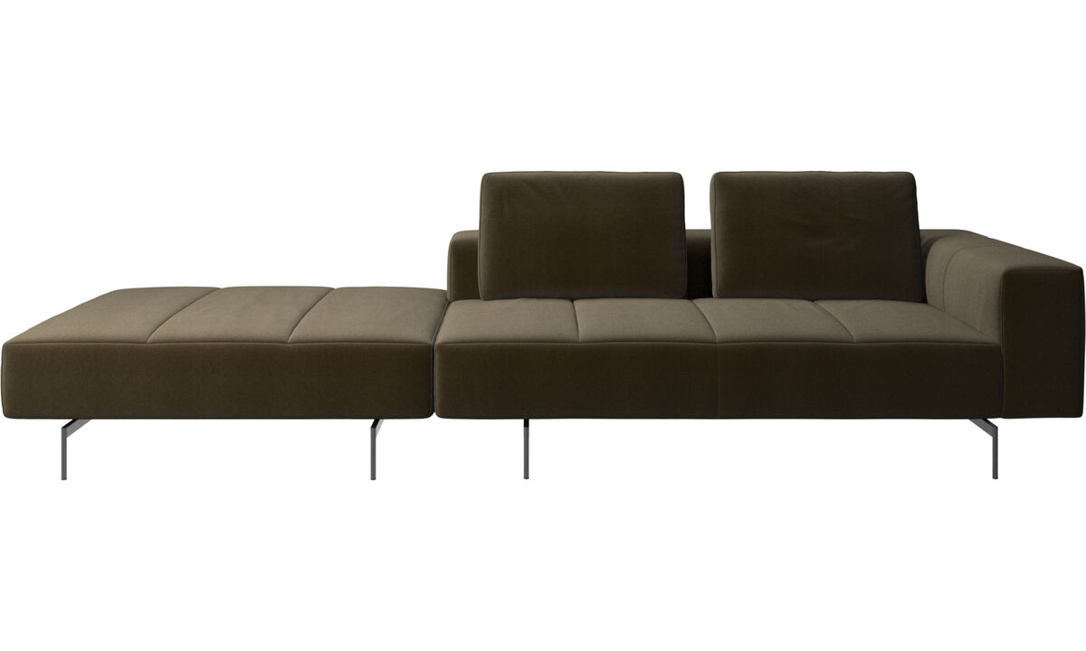 3 seater sofas - Amsterdam sofa with footstool on left side - Brown - Fabric