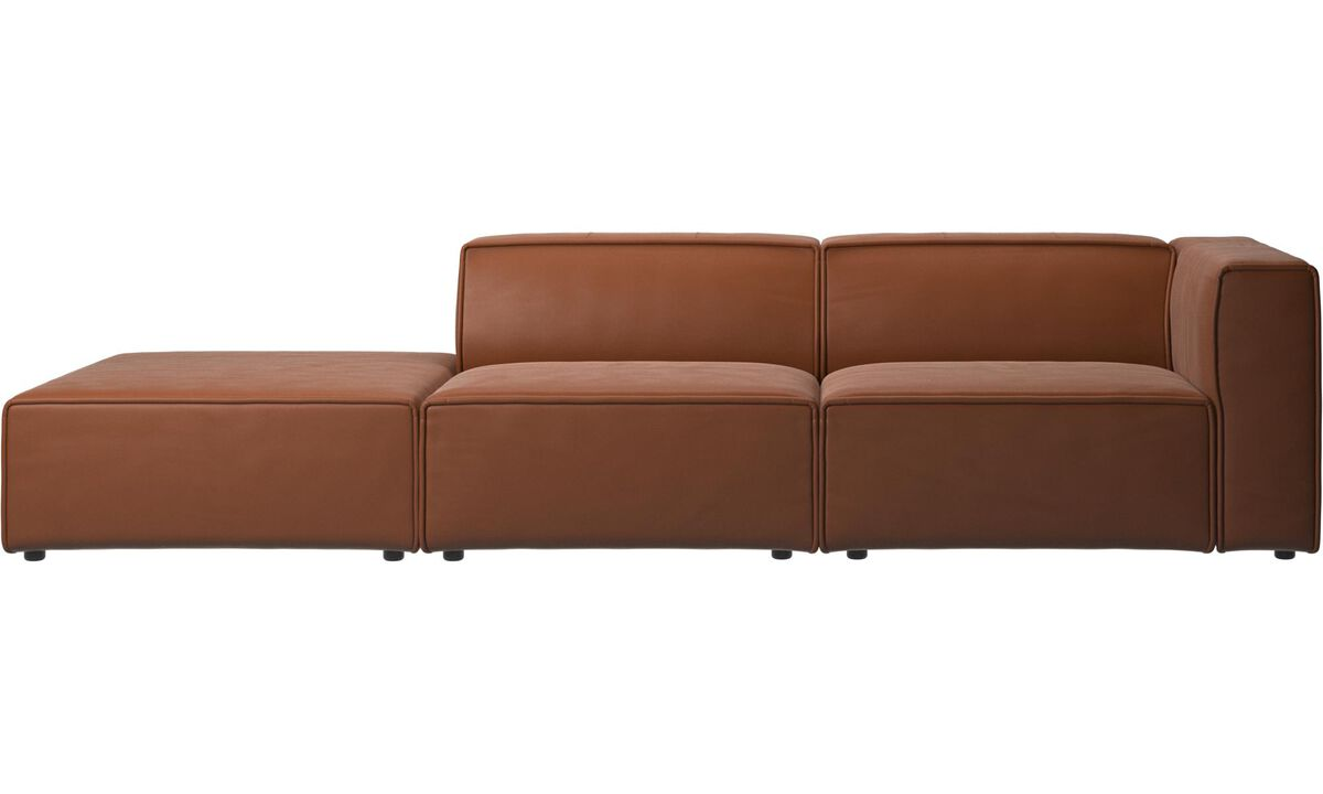 2 seater sofas - Carmo sofa with lounging unit - Brown - Leather
