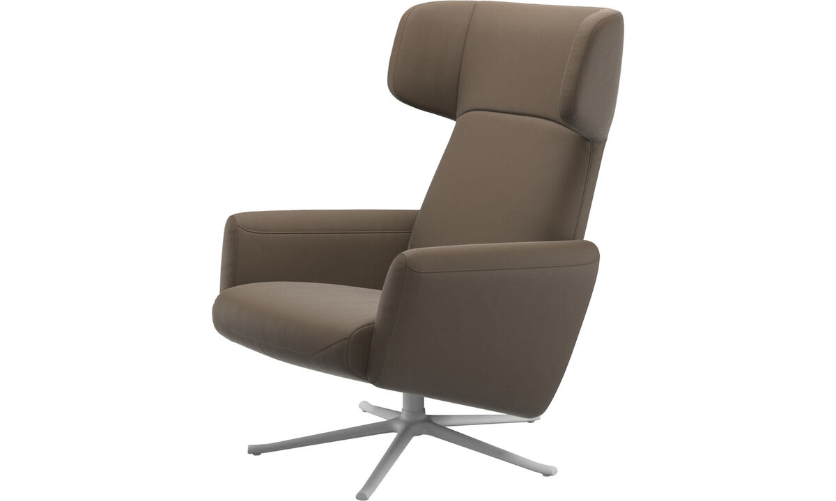 Recliners - Lucca wing recliner with swivel function - Grey - Leather