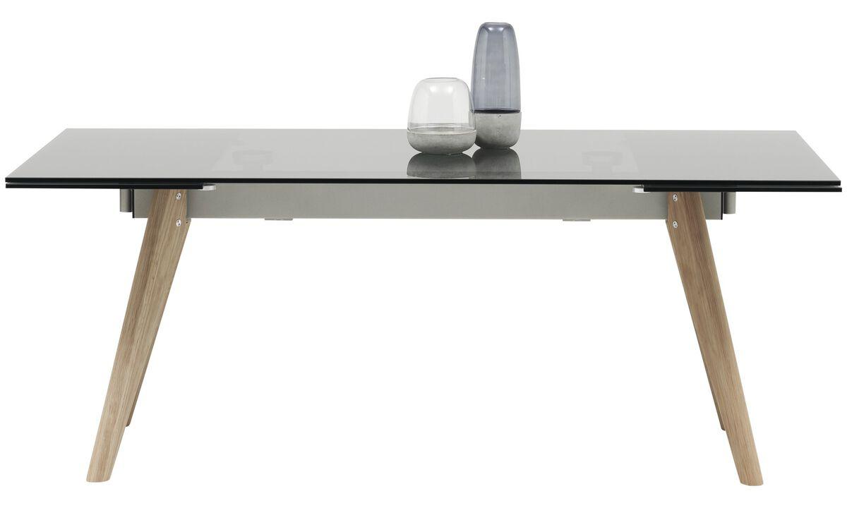 Tables de salle à manger - table Monza avec allonges - carré - Gris - Verre