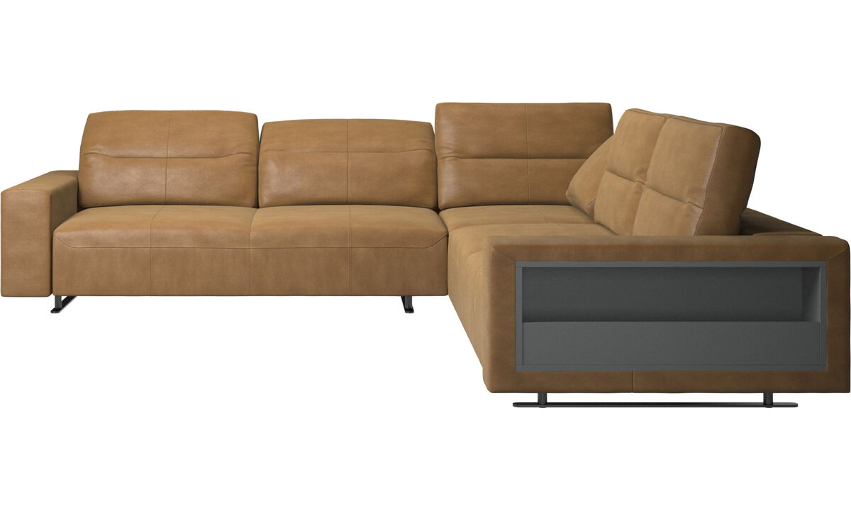 Corner & L-Shaped Sofa - Hampton corner sofa with adjustable back and storage on right side - Brown - Leather