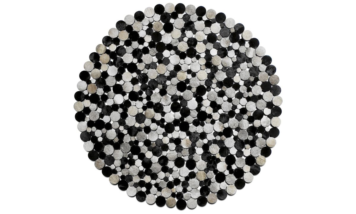 Leather rugs - Rondo rug - round - Grey - Leather
