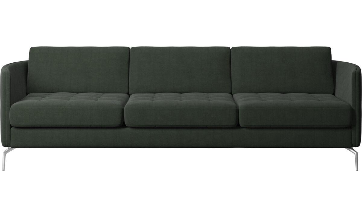 Sofás de 3 plazas - sofá Osaka, asiento capitoné - En verde - Tela