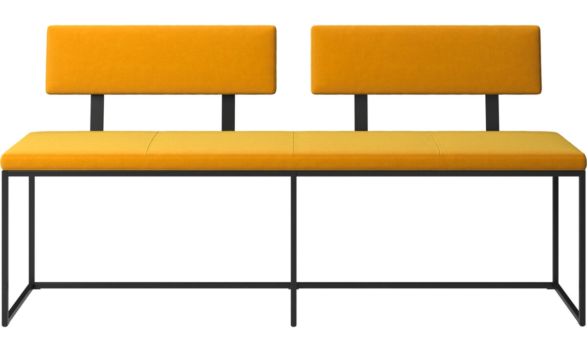 Benches - London large bench with cushion and backrest - Orange - Fabric