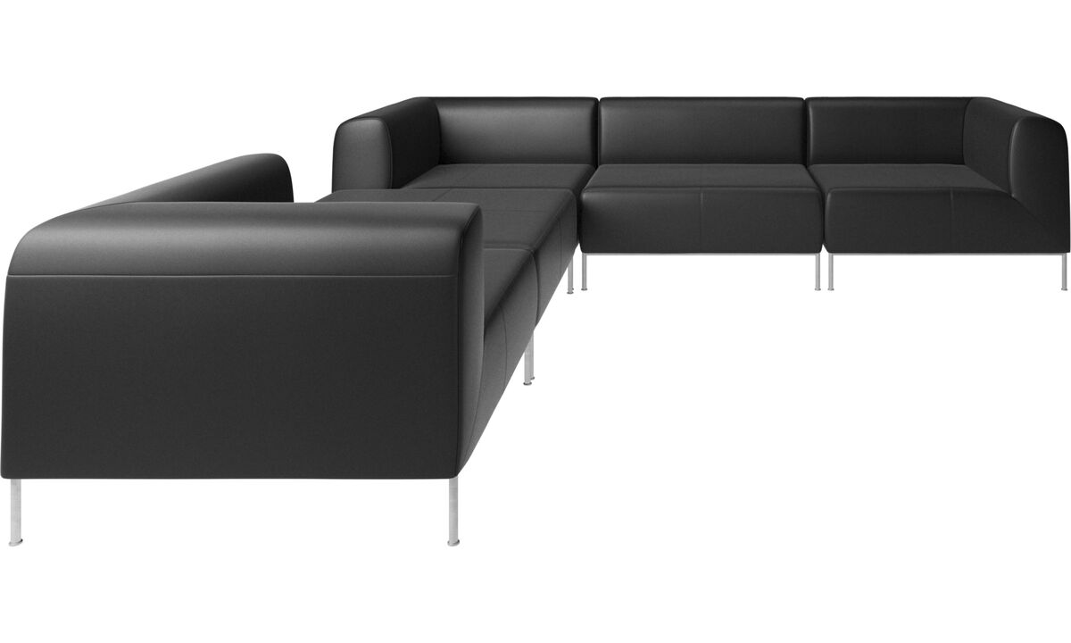 Modular sofas - Miami corner sofa with footstool on left side - Black - Leather