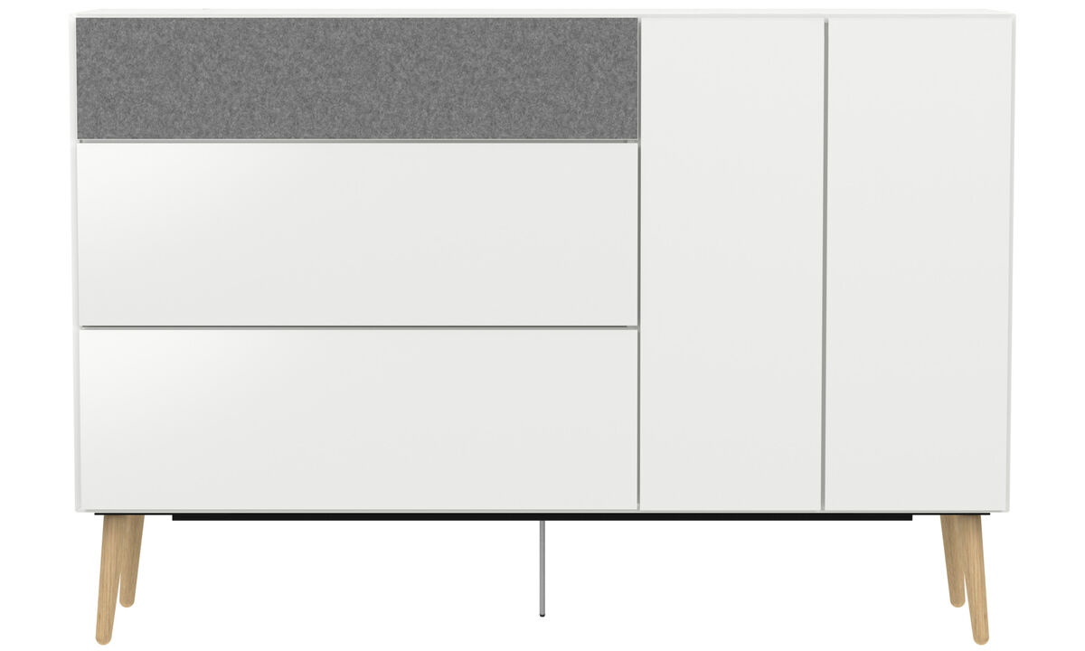 New designs - Lugano highboard with drawers and drop down door - White - Lacquered