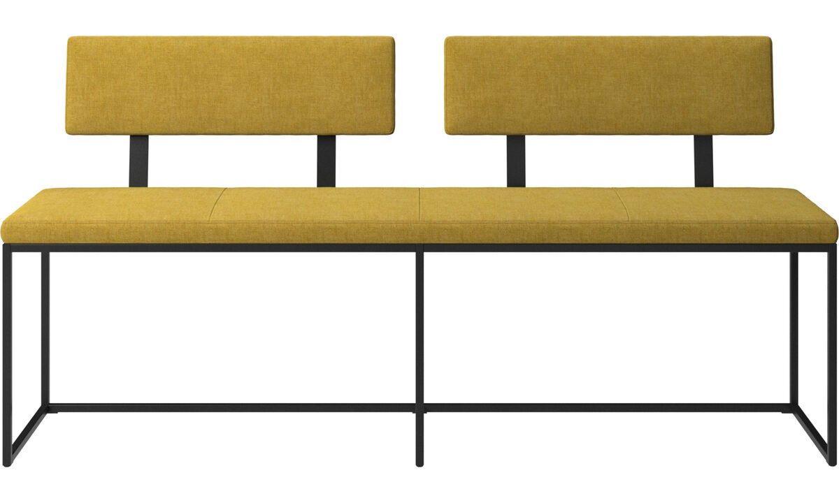 Benches - London large bench with cushion and backrest - Yellow - Fabric