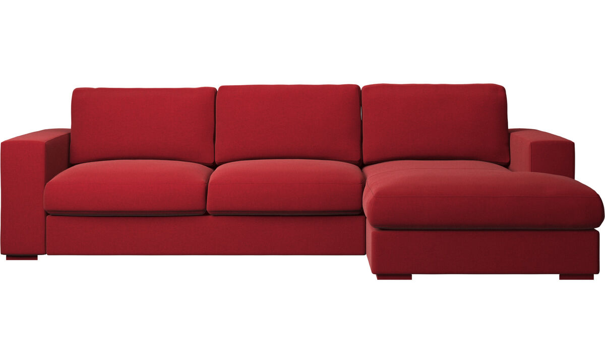 Sofás com chaise - Sofá Cenova chaise-longue - Vermelho - Tecido