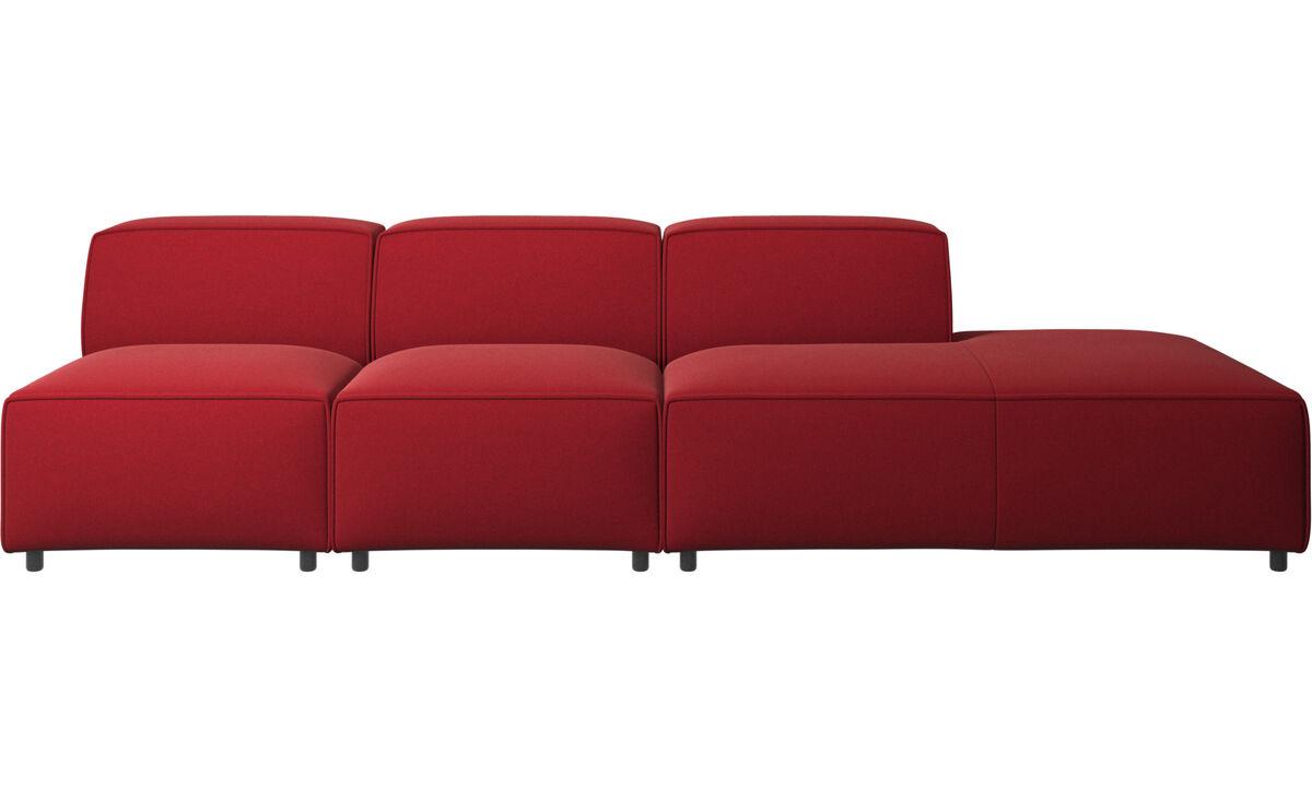 Sofás modulares - Sofá Carmo con módulo de descanso - Rojo - Tela
