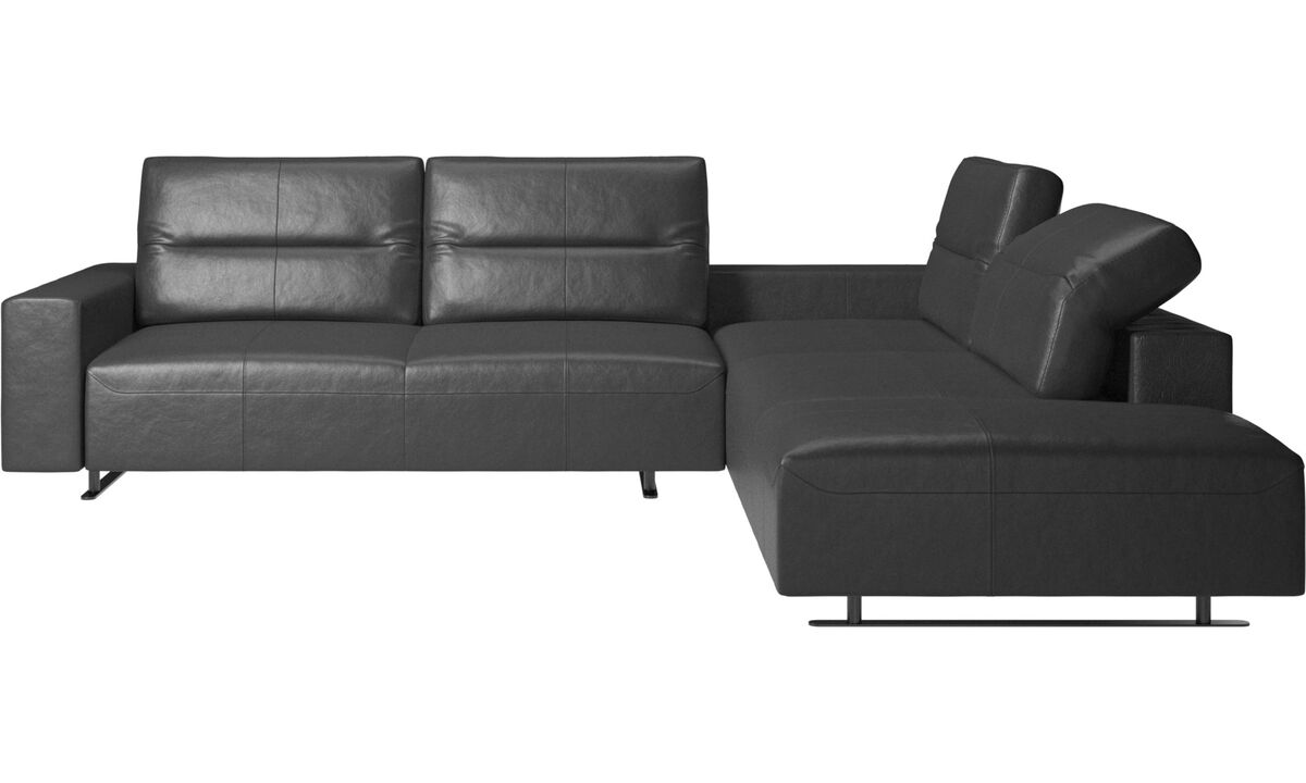 Γωνιακοί καναπέδες - Γωνιακός καναπές Hampton με ρυθμιζόμενη πλάτη και αποθηκευτικό χώρο στην αριστερή πλευρά - Μαύρο - Δέρμα