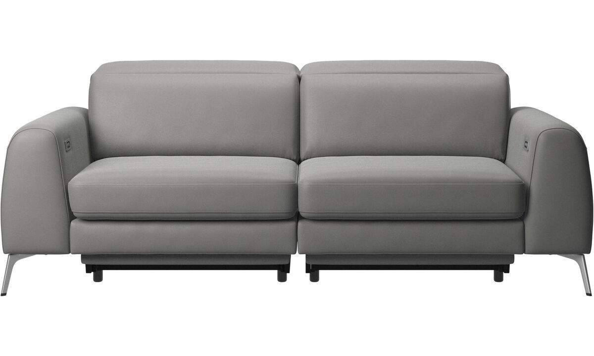 3 seater sofas - Madison sofa with electric seat, head and footrest motion (transformer and cable plug-in included) - Grey - Leather