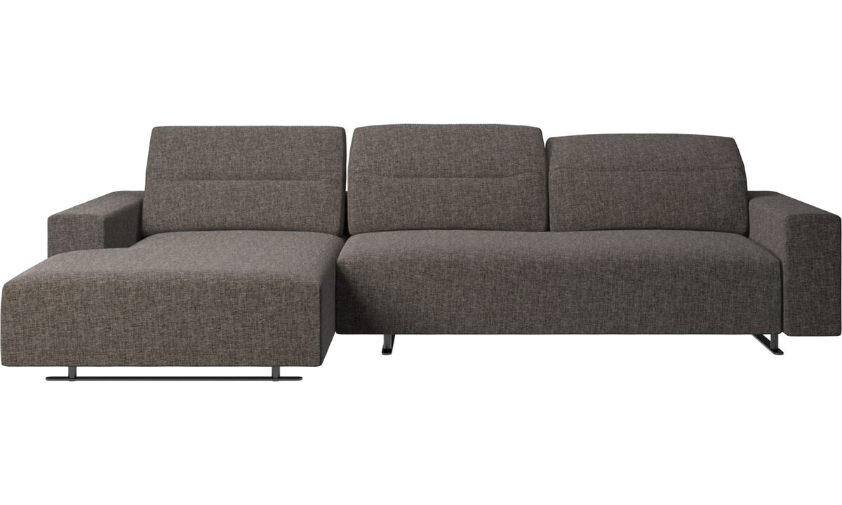 Chaise longue sofas - Hampton sofa with adjustable back and resting unit left side, storage right side - Brown - Fabric