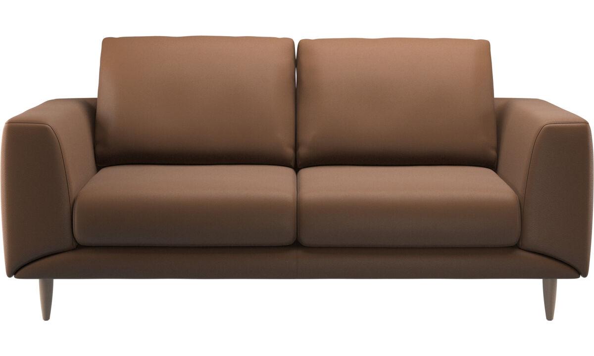 Sofás de 2 plazas - sofá Fargo - En marrón - Piel
