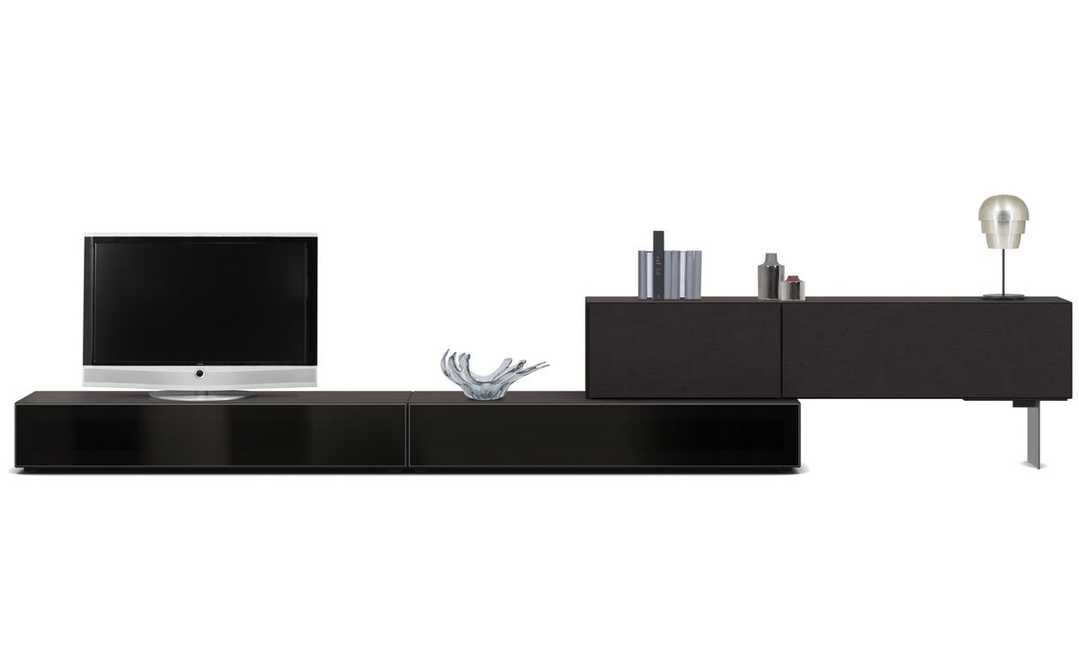 Tv units - Lugano base cabinet with drop down doors - Black - Oak