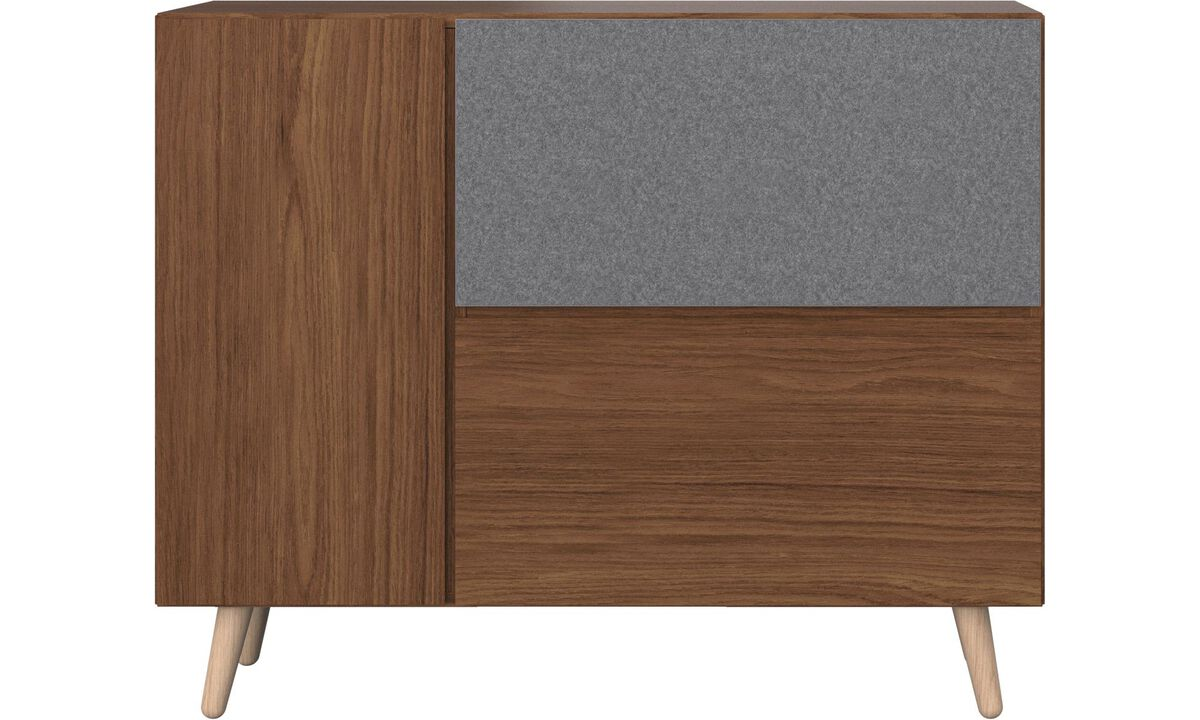 Sideboards - Lugano highboard with drop down doors - Marrone - Noce