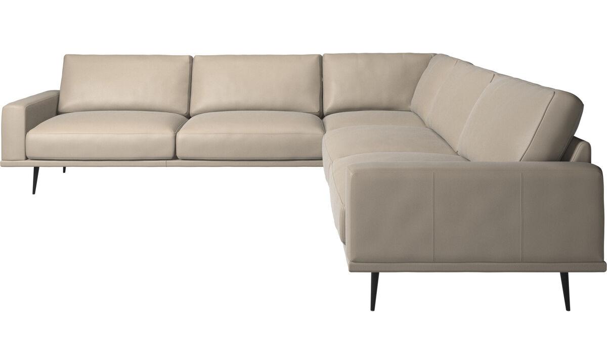 Corner sofas - Carlton corner sofa - Beige - Leather
