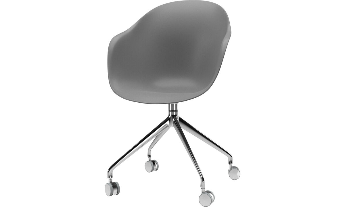 Dining chairs - Adelaide chair with swivel function and wheels - Grey - Metal
