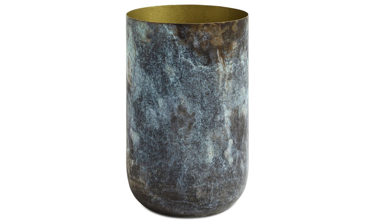 New designs - Oxidized vase - Blue - Metal