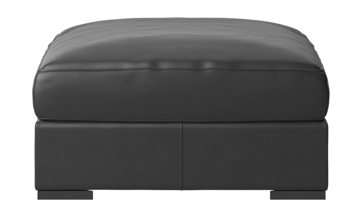 Footstools - Cenova ottoman - Black - Leather