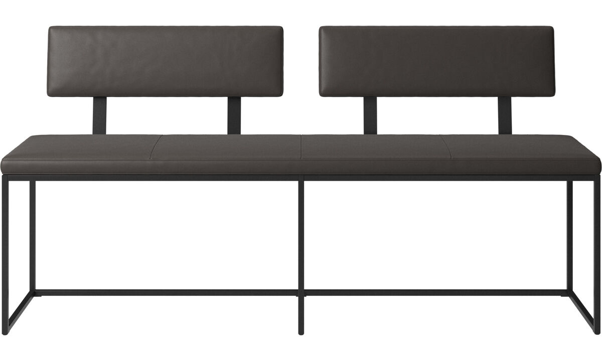 Benches - London large bench with cushion and backrest - Brown - Leather