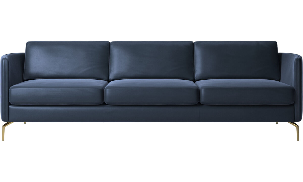 3 seater sofas - Osaka sofa, regular seat - Blue - Leather