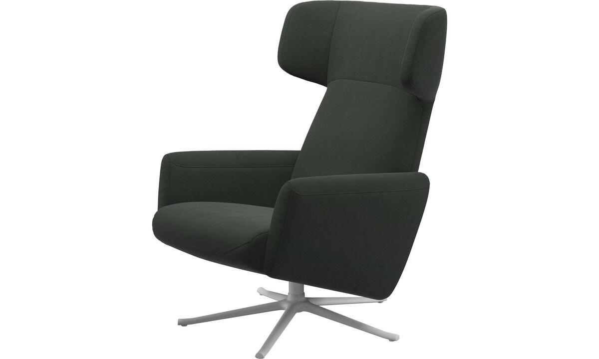 Poltronas - Lucca wing reclinável com função giratória - Verde - Tecido